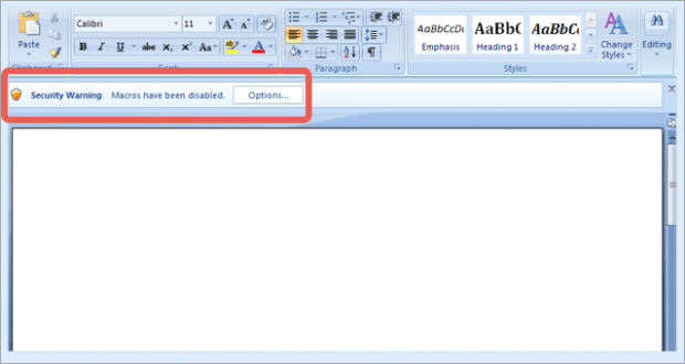 Docm file prompting to enable macros
